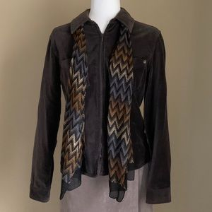 Ann Taylor Loft Brown Jacket With Scarf, Size M